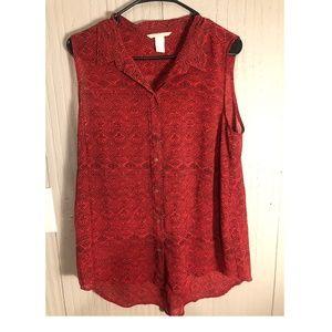 Sheer pattern button down tank top collared shirt